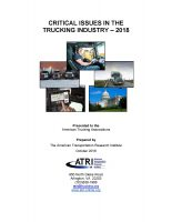 Critical Issues in the Trucking Industry – 2018