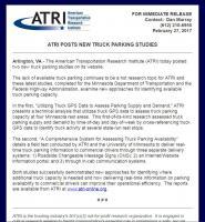 ATRI Posts New Truck Parking Studies