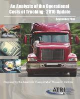 An Analysis of the Operational Costs of Trucking:  2016 Update
